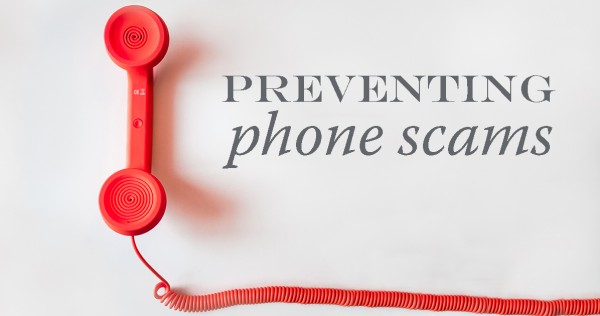 "Red phone with headline ""Preventing Phone Scams"""